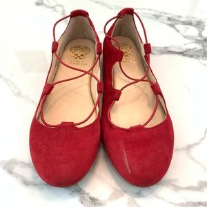 Vince Camuto Red Suede Flats